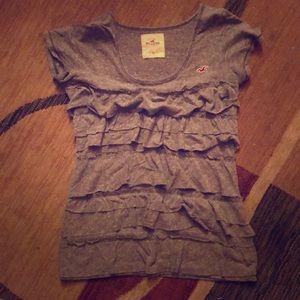 Hollister/ grey ruffled shirt/ size small